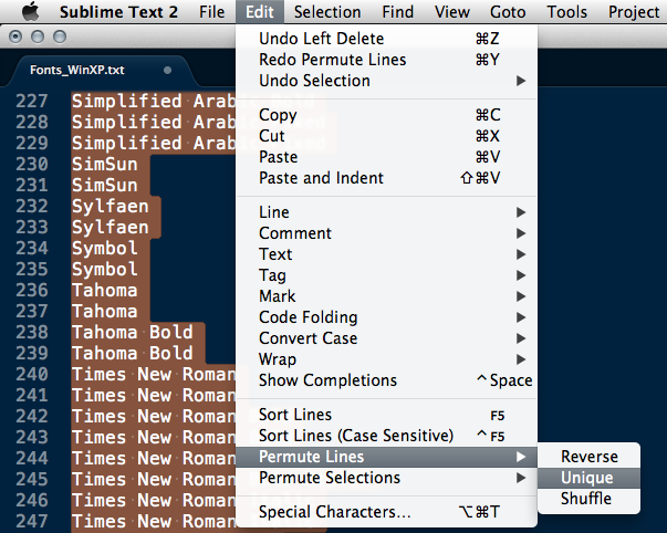 Extract Unique Lines in Sublime Text 2 (Example)