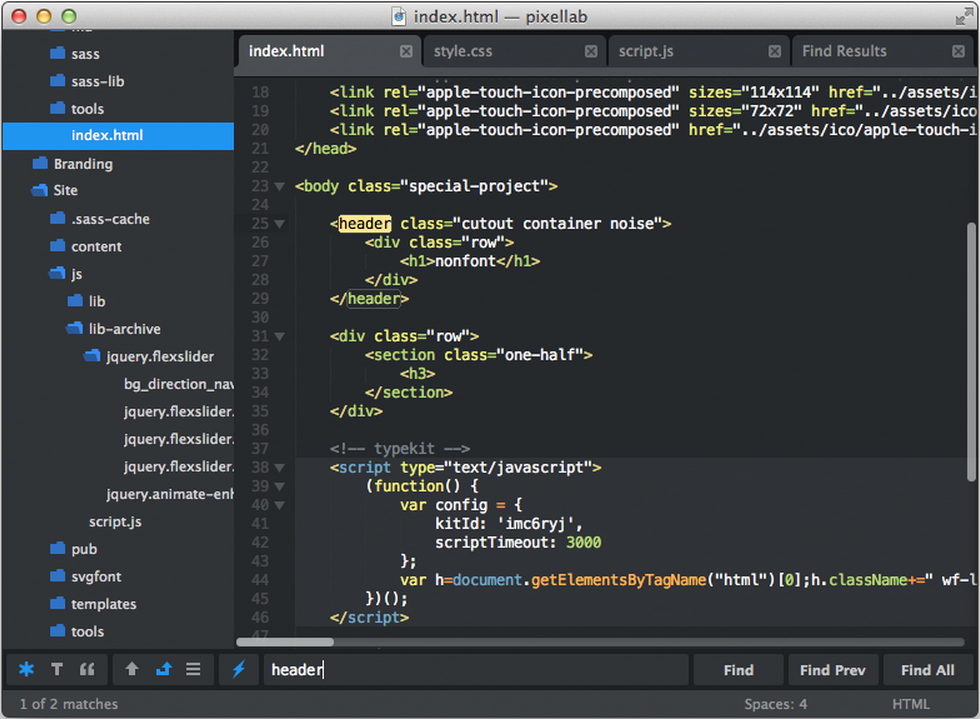 Flatland Theme For Sublime Text 2 Example
