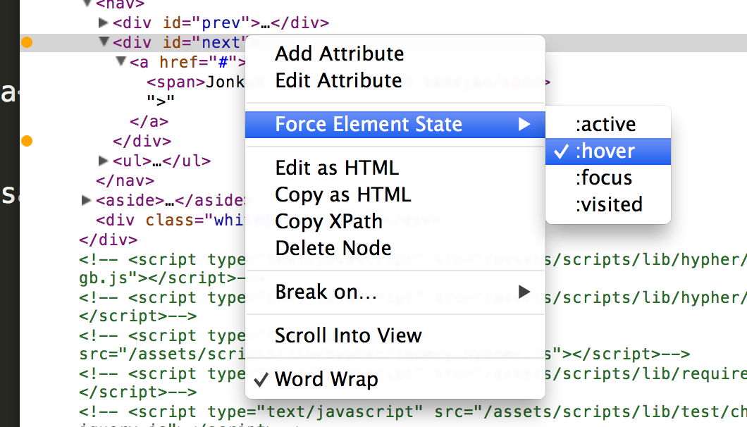 Force element state in Chrome inspector (Example)