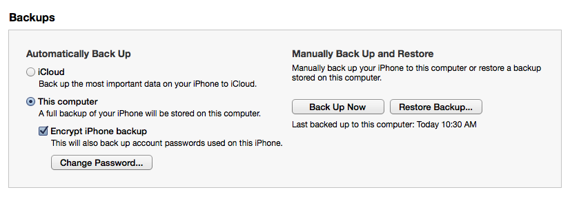 encrypted backup iphone