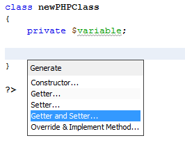 Auto-generate get, set, & constructor functions in NetBeans