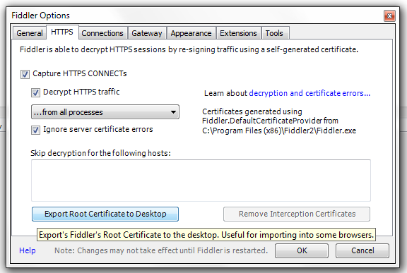 Capture HTTPS traffic from Java applications with Fiddler