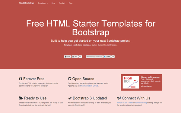 Start Bootstrap Free Html Starter Templates For Bootstrap 3