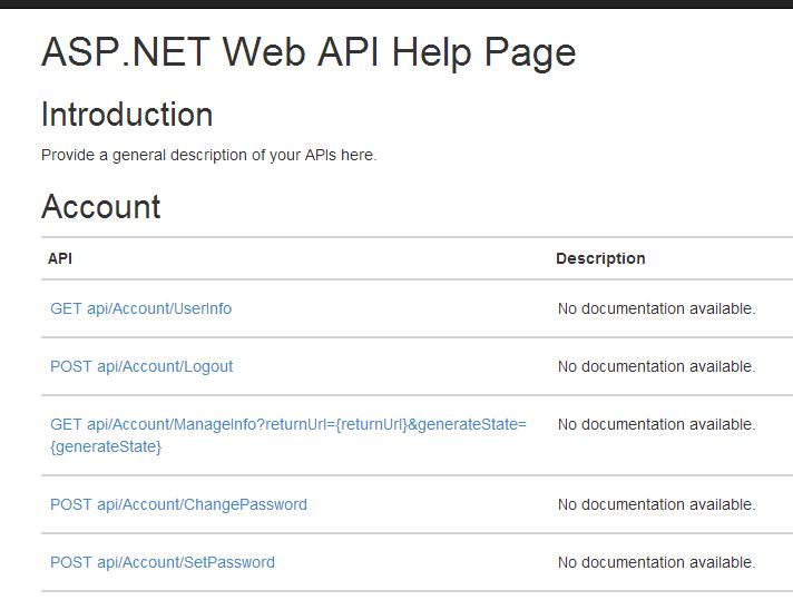 Default WebAPI Help Page