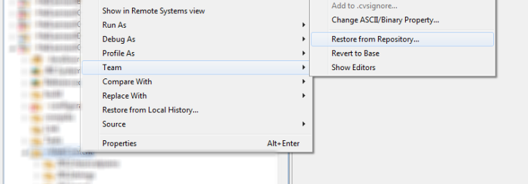 Restoring a deleted file from CVS in Eclipse (Example)