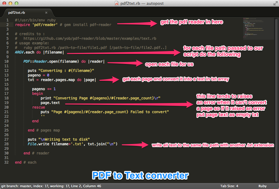 PDF to Text converter using ruby (Example)