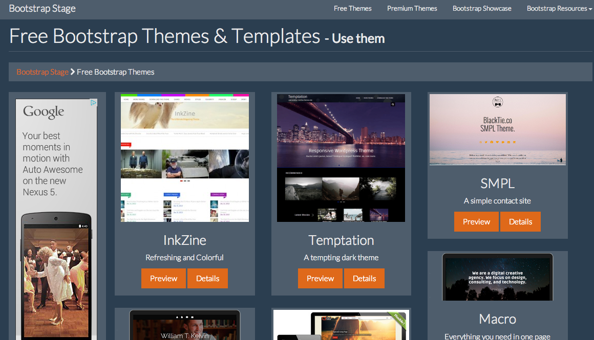 Bootstrap Stage - Free HTML Starter Templates for Bootstrap