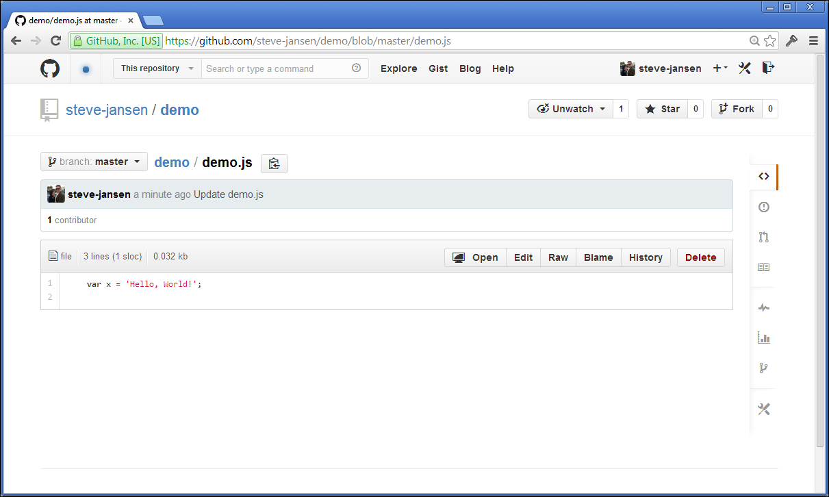 Screenshot of a Hello, World! Javascript code file in GitHub