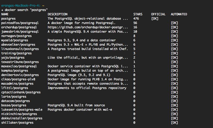 PostgreSQL with docker on OS-X (Example)