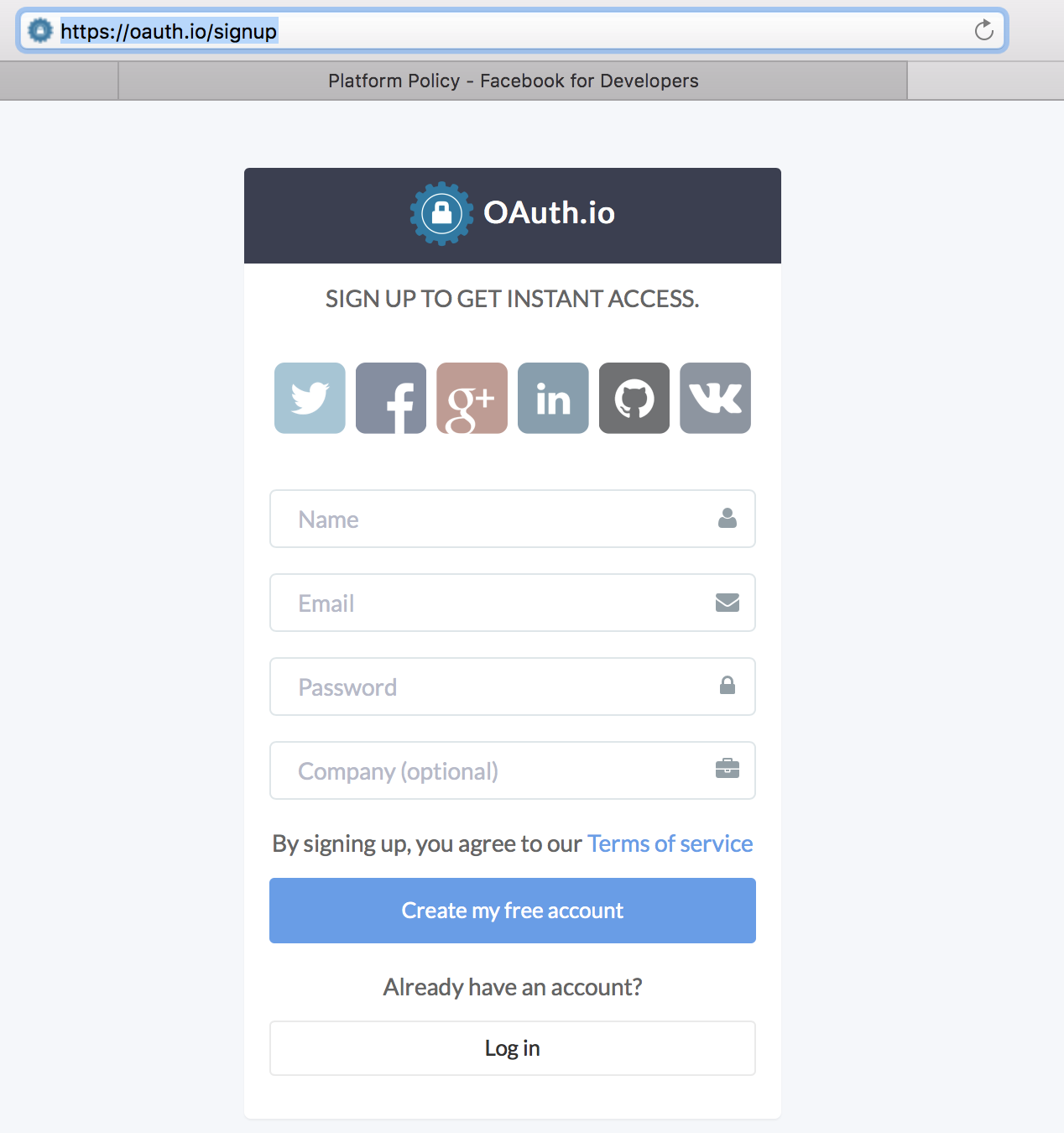 Javascript Facebook Social Login Bootstrap Button for OAuth (Example)
