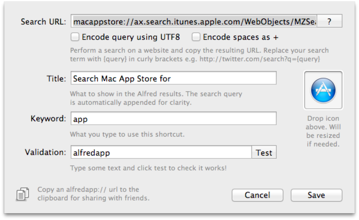 Search the Mac App Store from Alfred (Example)